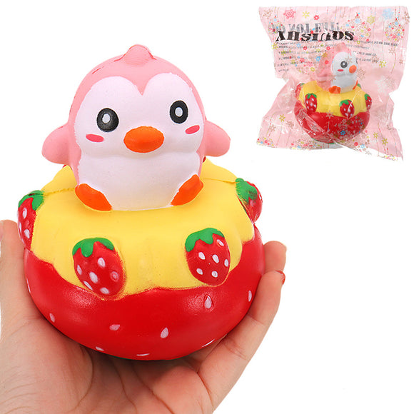 NO NO Squishy Strawberry Penguin 13*11CM Slow Rising With Packaging Collection Gift Soft Toy