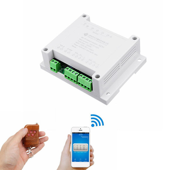 AC 220V 10A Control Smart Switch Point Remote Relay 4 Channel WiFi Module With Shell And 433M Remot