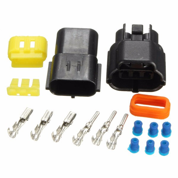 Car 3 Pin Water Resistance Waterproof Electrical Wire Cable Connector Plug Set