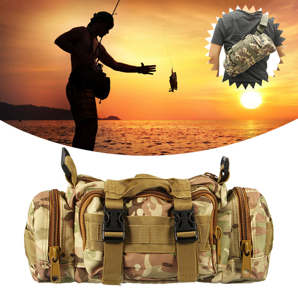 ZANLURE 35*15*9cm Camouflage Nylon Oxford Reel Bait Fishing Bag Outdoor Waist Shoulder Bag