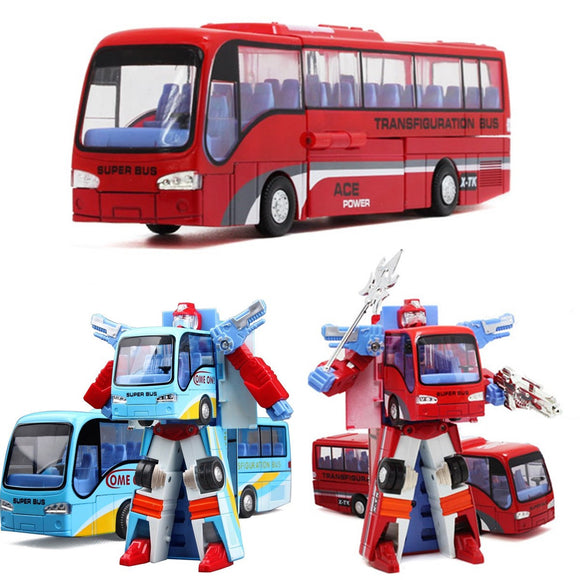 Blue/Red Robot Bus Transformer Toy For Children