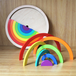 Wooden Rainbow Blocks Stacking Model Building Construction Kids Toy Intellectual