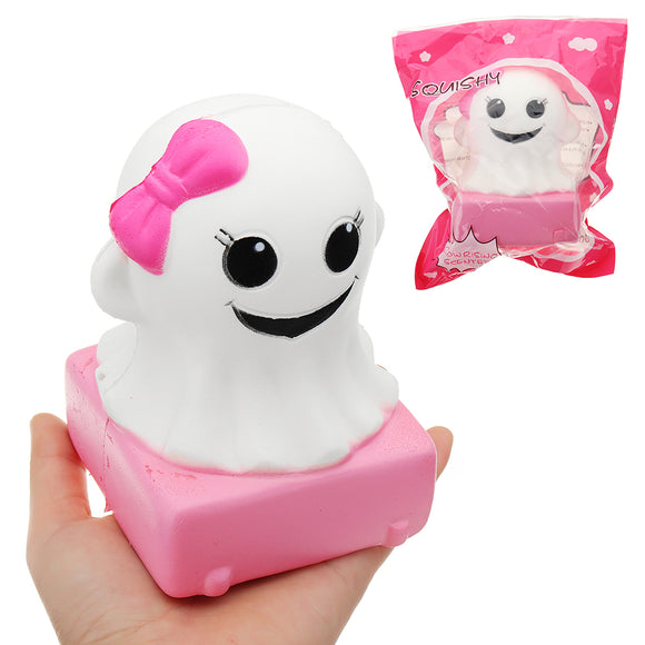 YunXin Pink Girl Ghost Doll Halloween Squishy 4*9cm Slow Rising With Packaging