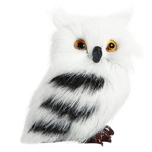 2 PCS Owl White Black Furry Christmas Ornament Decoration Toys Adornment Simulation