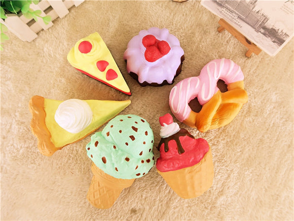 Cake Squishy Dessert 10CM Donuts Ice cream Pizza Bread Medium Size Jumbo Collection
