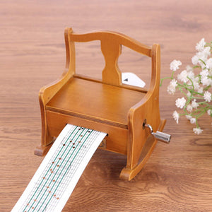 15 Tone DIY Hand Cranked Wooden Chair Music Box With Hole Puncher Paper Tapes