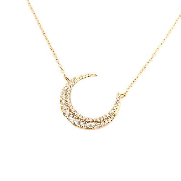 Crescent Moon Necklace in Gold