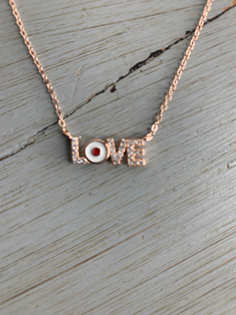 Lulu Love Necklace in Rose Gold