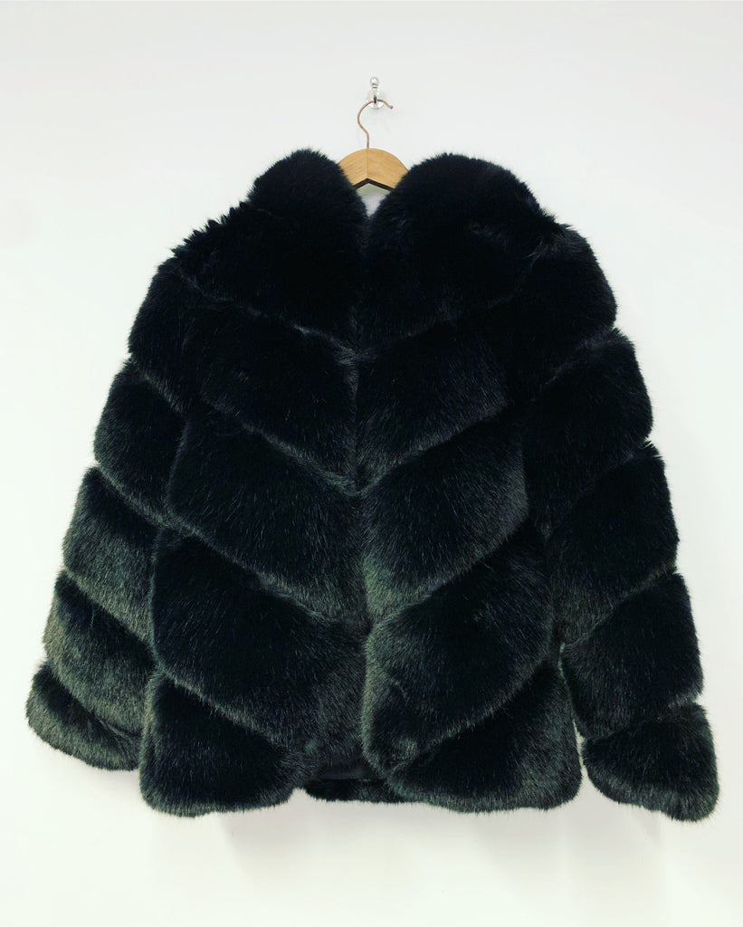 Pia Rose Faux Fur Coat Black