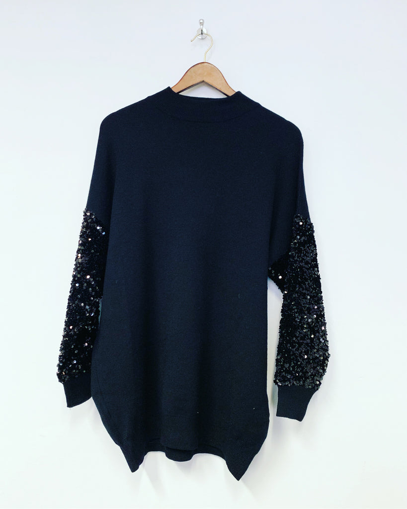 Tilly Sequin Top Black
