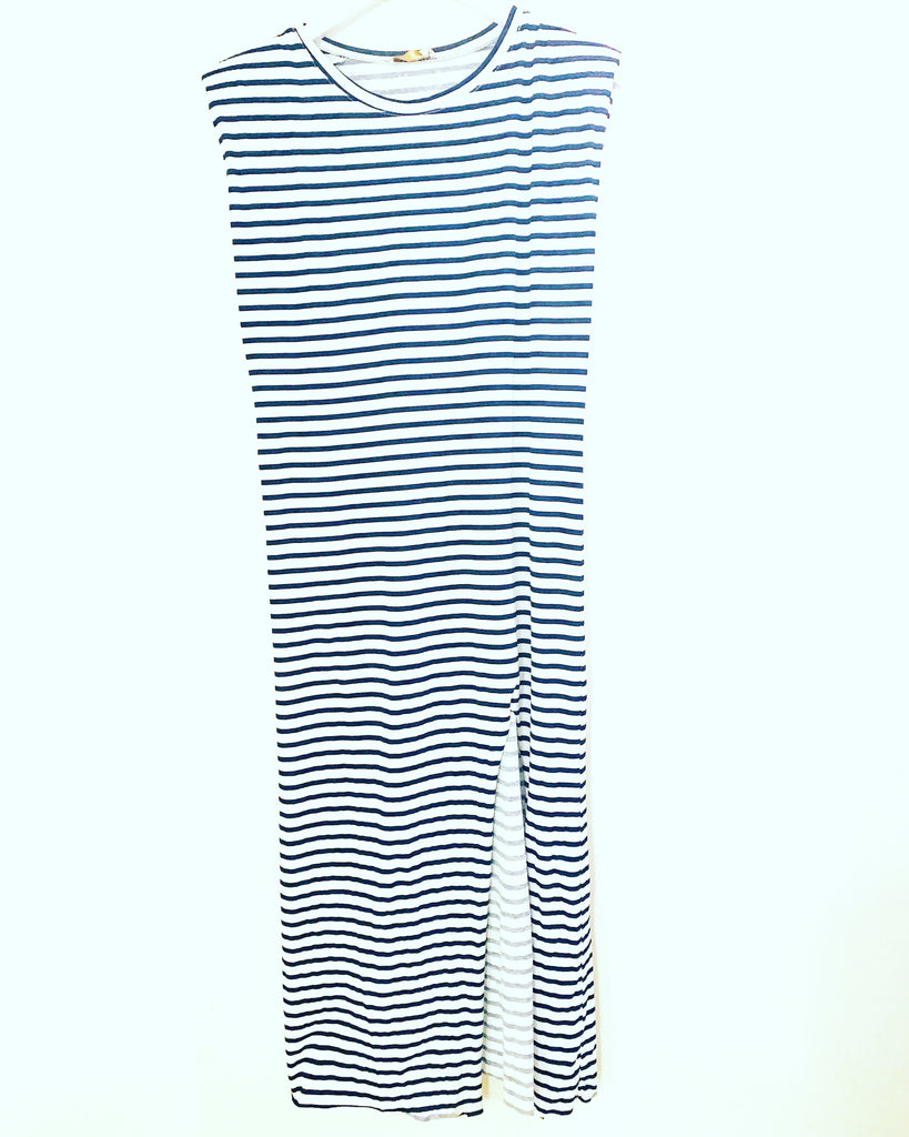 Sienna Stripe Dress Navy