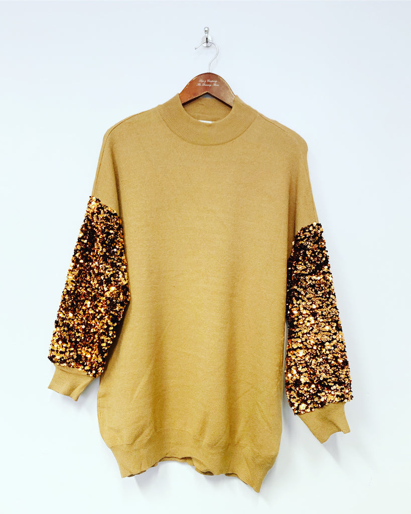 Tilly Sequin Top Toffee