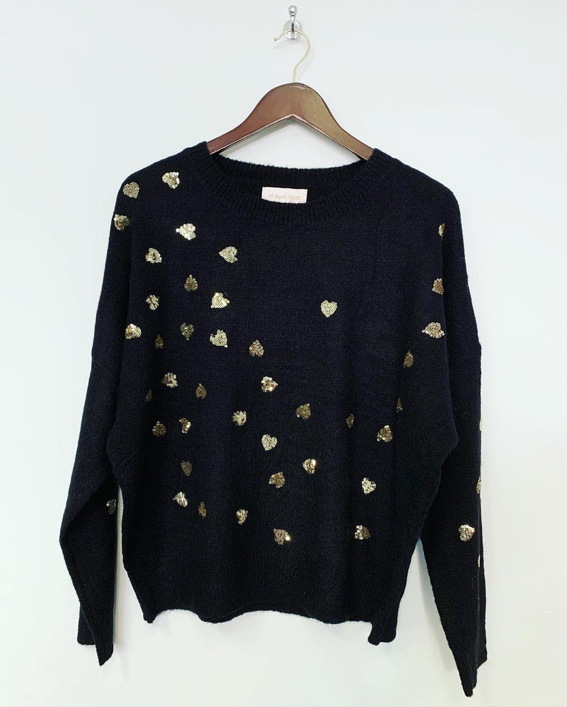 Love Heart Knit Black