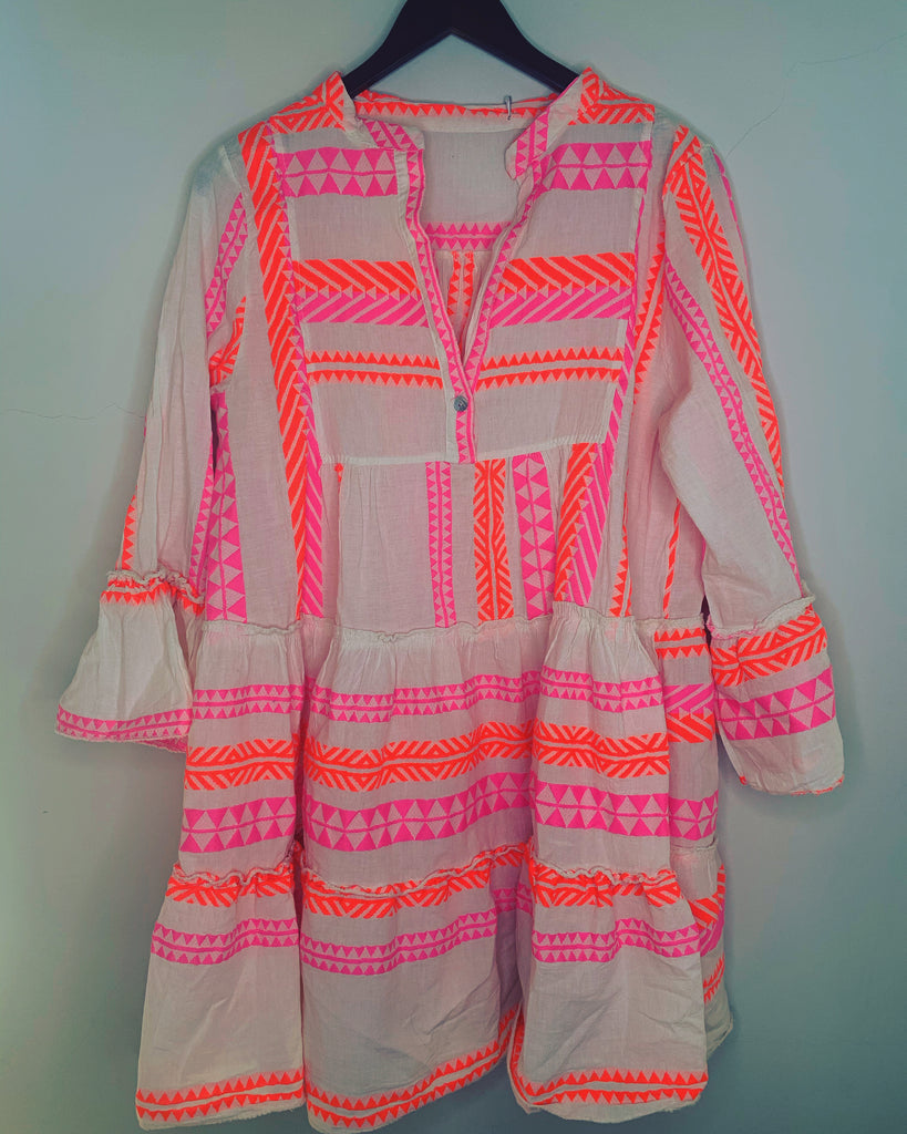 Tribe Dress Neon Pink & Orange