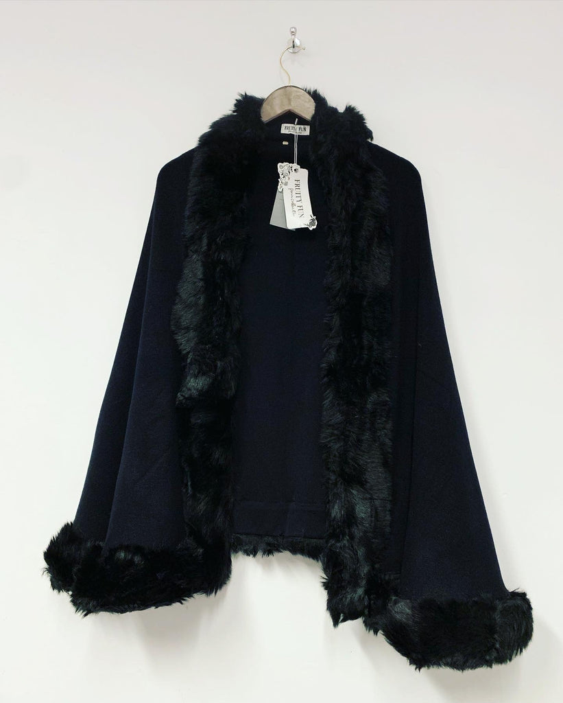 Faux Fur Trim Cape Black
