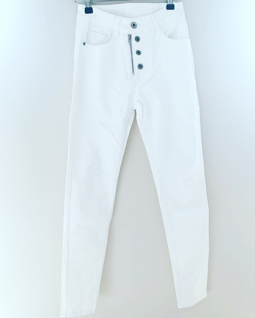 Jean Lux Leather Look White