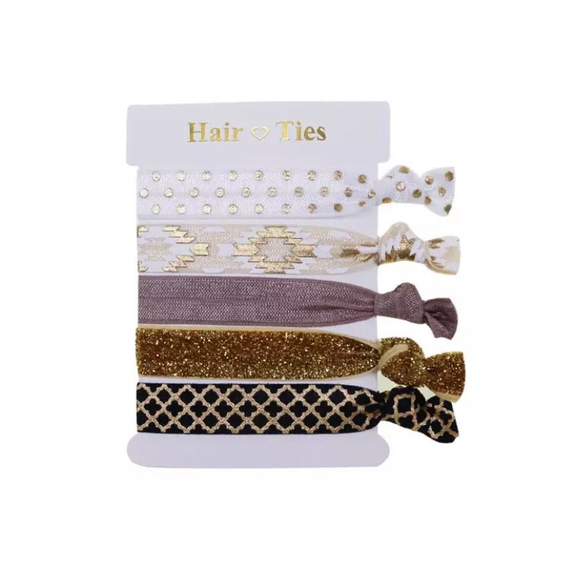Hair Ties Set Of 5 Golds