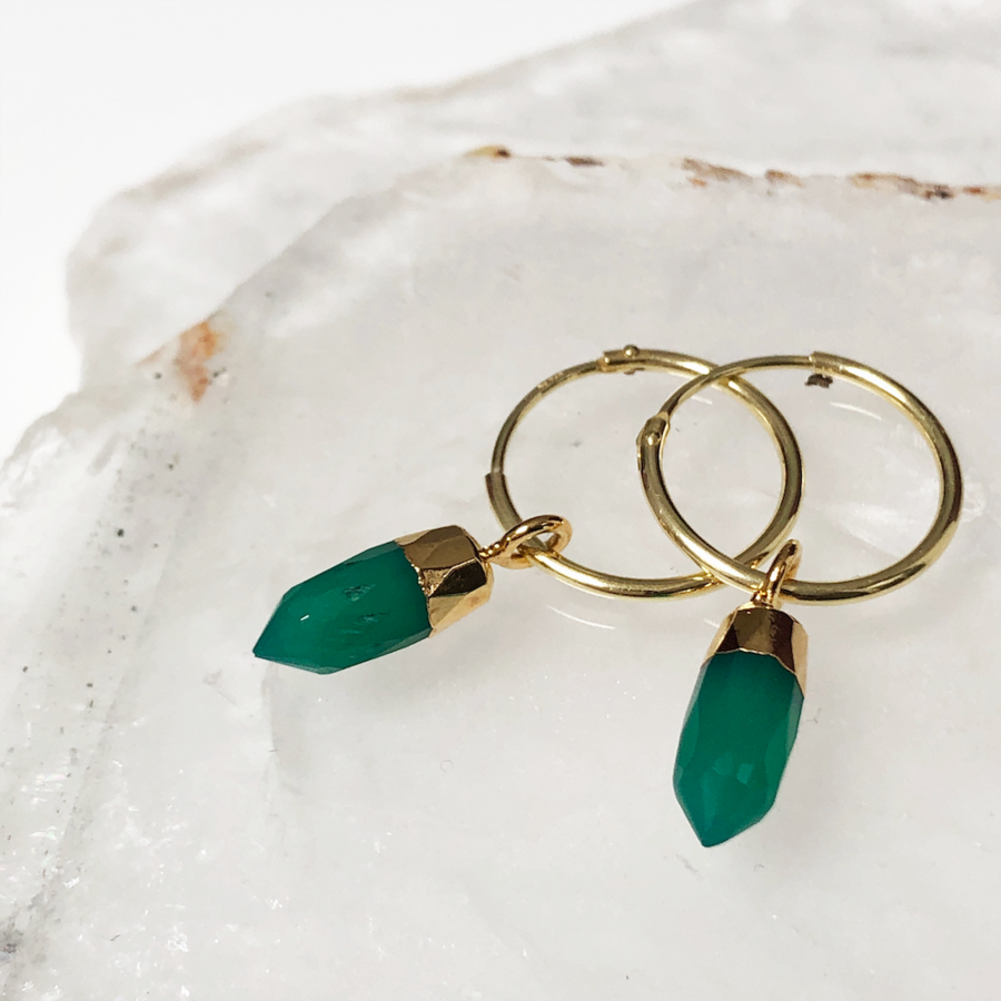 Cora Creole Green Onyx Earrings
