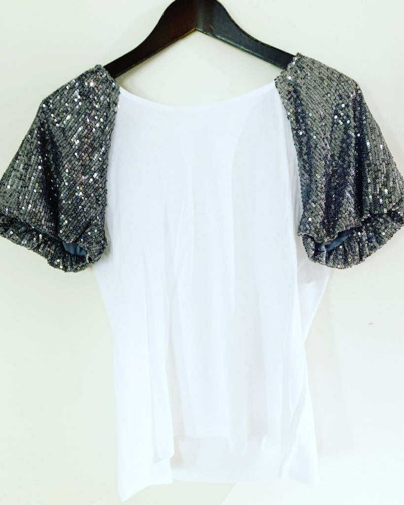 Holly Sequin T-Shirt Light Grey