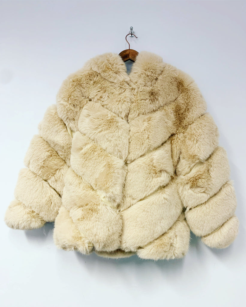 Pia Rose Faux Fur Coat Cream