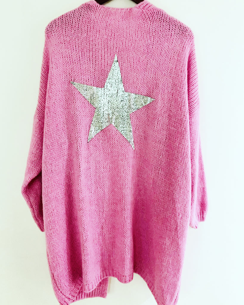 Star Cardigan Bubble Gum