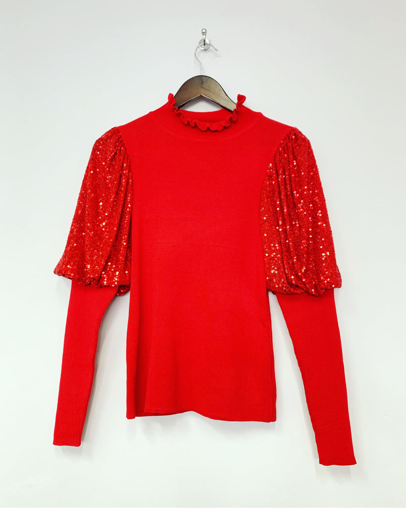 Sequin Knit Red