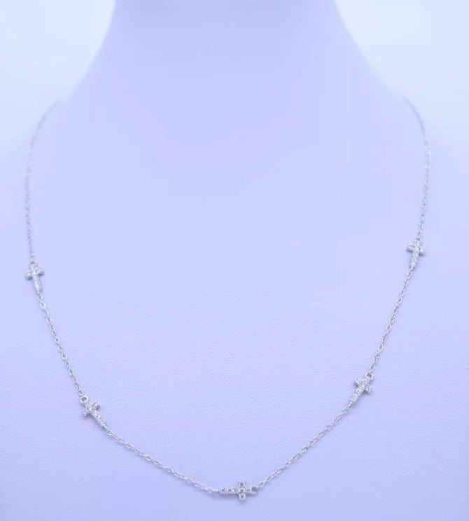 Cara Cross Necklace in Silver