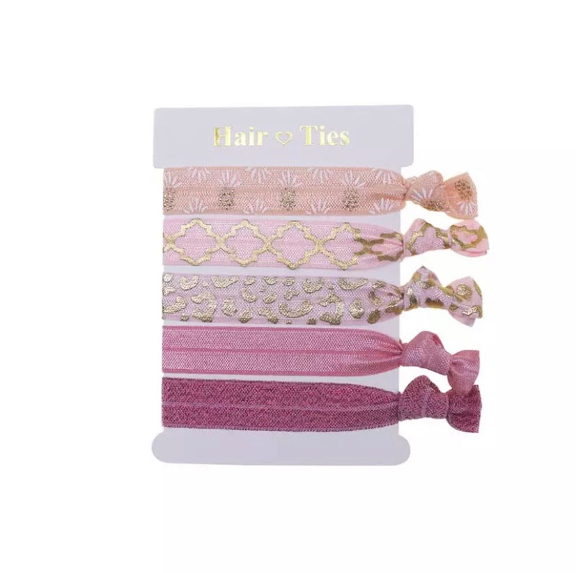 Hair Ties Set Of 5 Pineapple Pinks