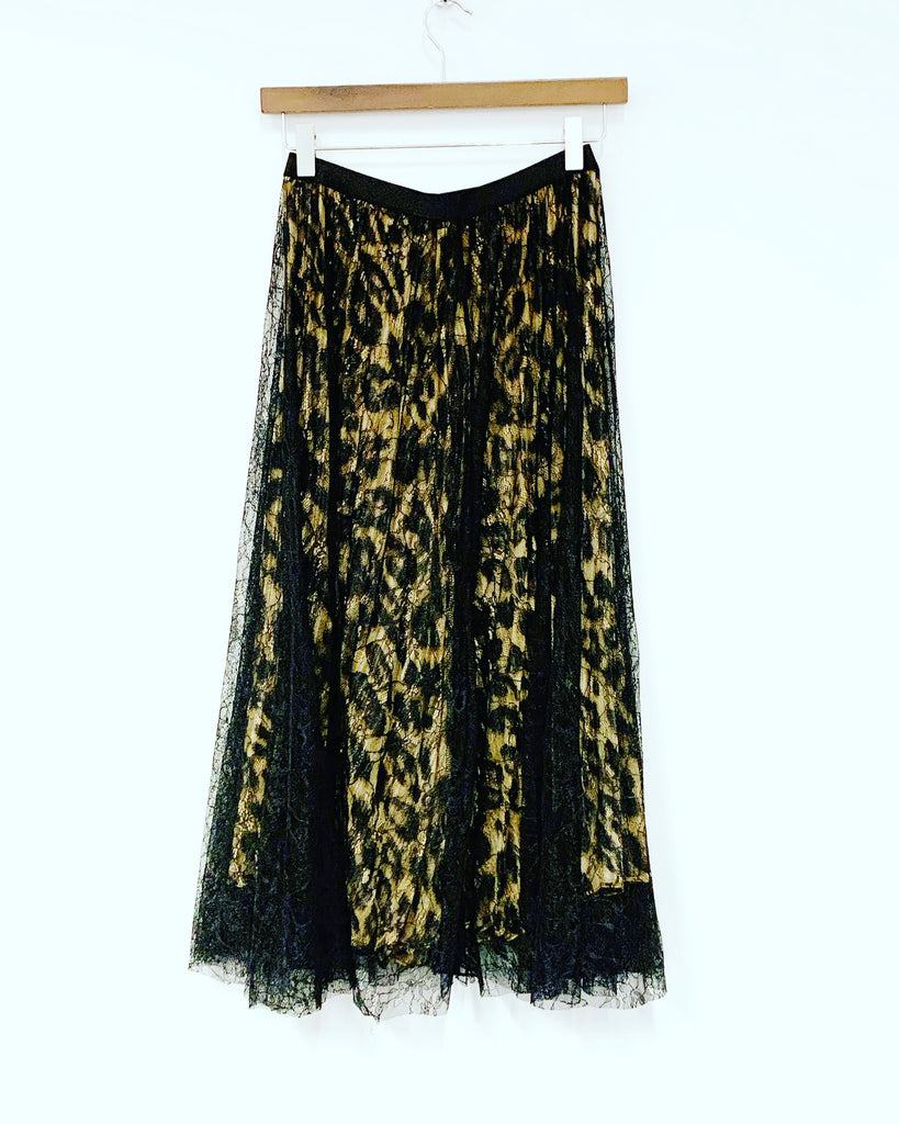 Lace Leopard Reversible Skirt