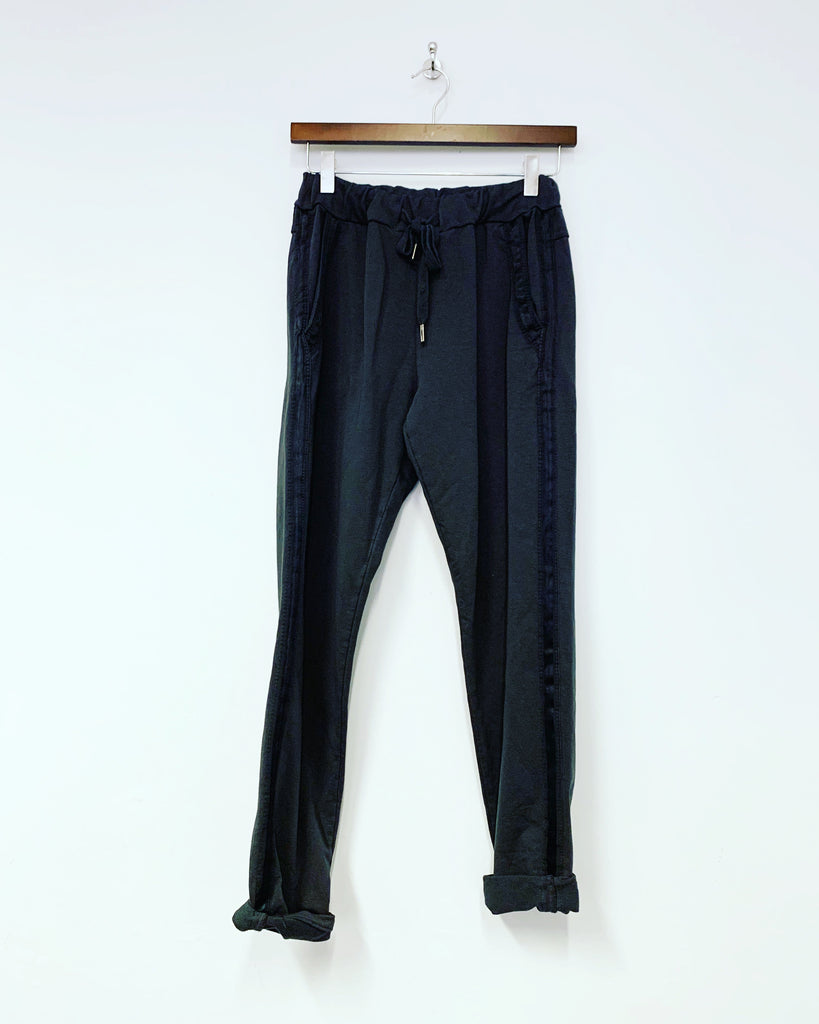 Satin Stripe Pant Charcoal