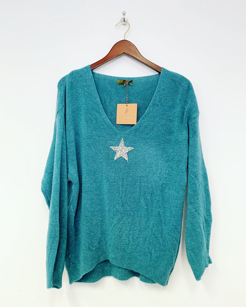 Boo Star Knit Teal