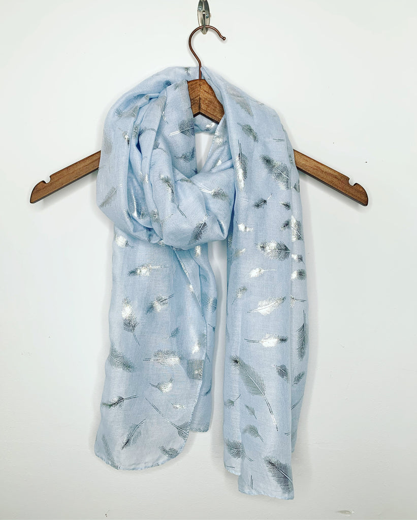 Feather Scarf Powder Blue