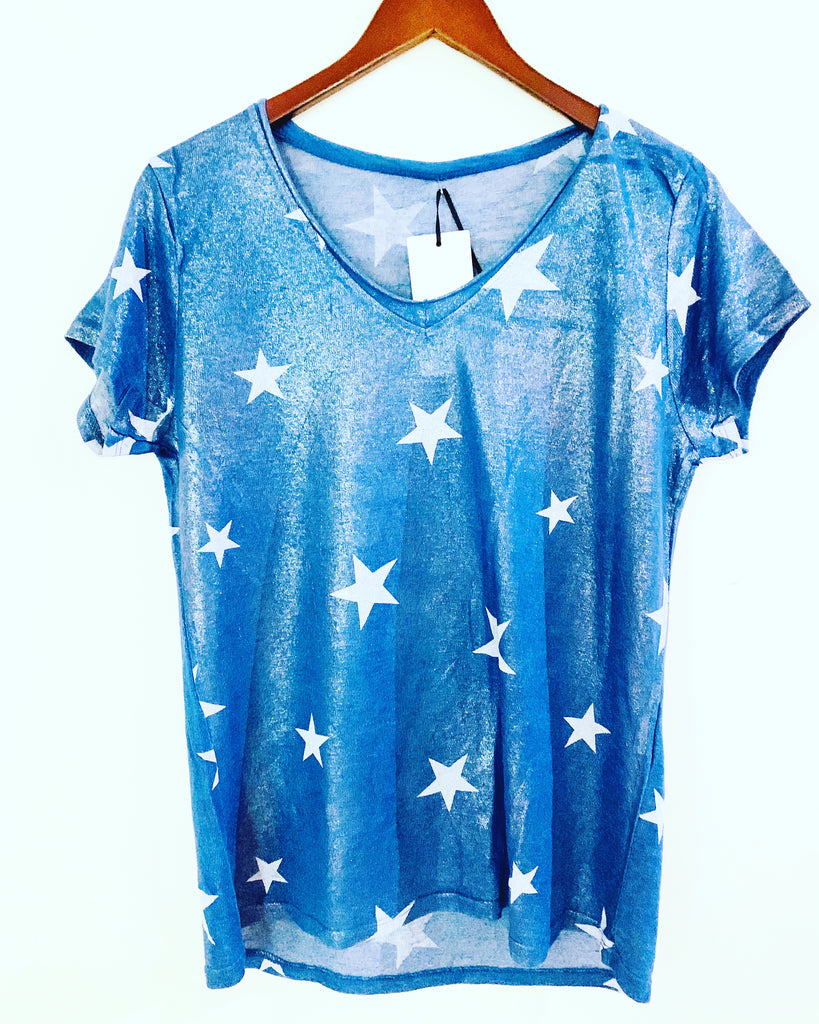 Multi Star Tee White (red stars)