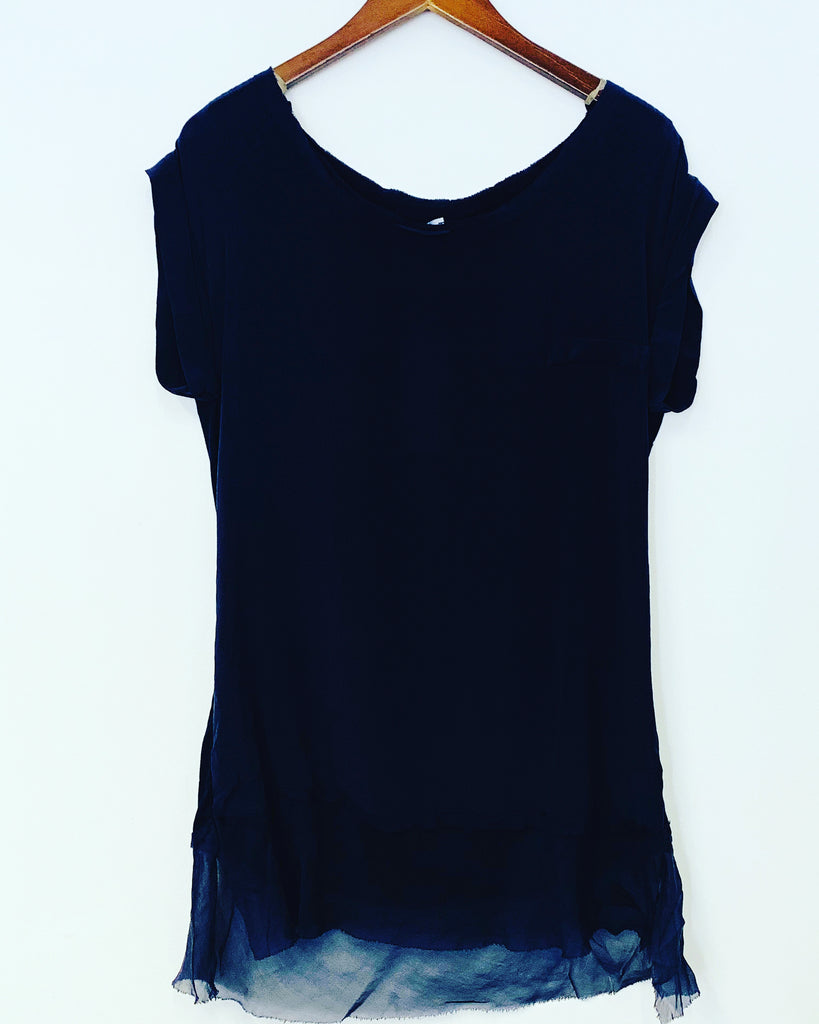 Elle Silk Tee Black