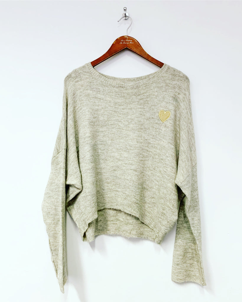 Grey Heart Knit