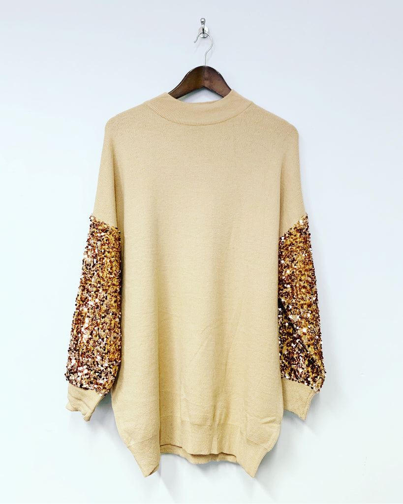 Tilly Sequin Top Mocha