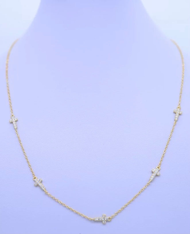 Cara Cross Necklace in Gold
