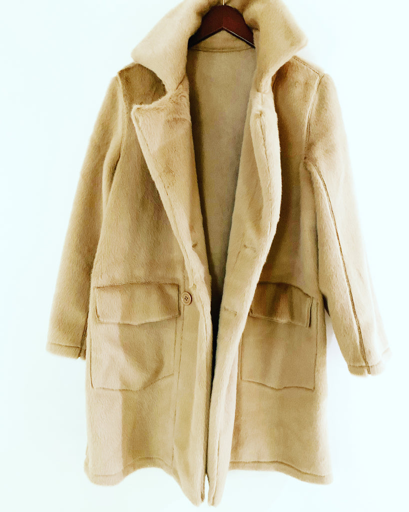 Marcia Faux Fur Coat Camel