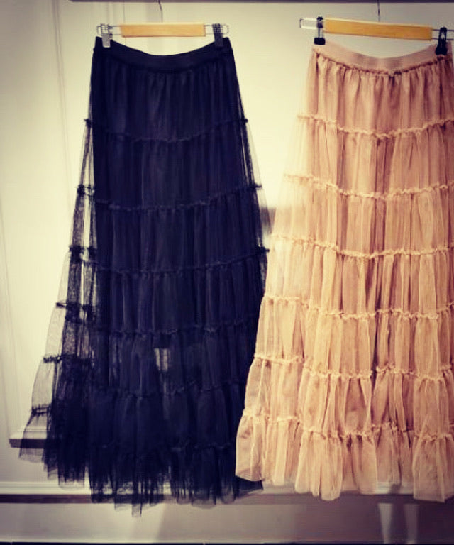 Tanya Tiered Tulle Skirt Black