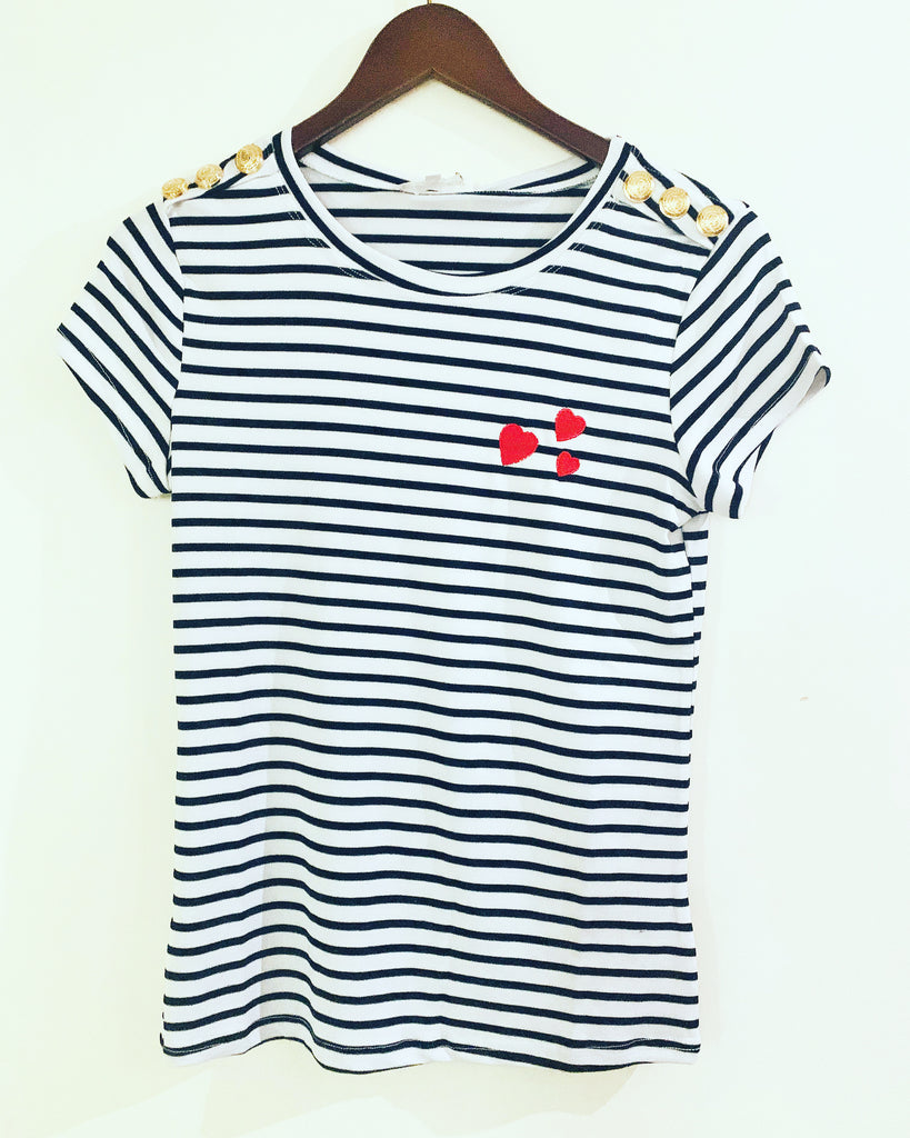 Bay Love Tee Blue Stripe