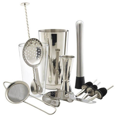 Genware 12 Piece Stainless Steel Cocktail Bar Kit | Coffeecups.co.uk