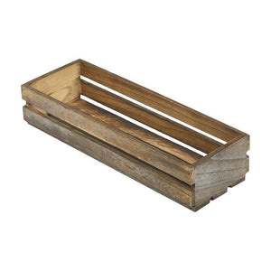 Dark Rustic Wooden Crates 34 x 12 x 7cm - Coffeecups.co.uk