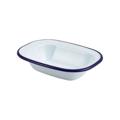 Genware Enamel Rectangular Pie Dish White 16 x 12cm | Classic Enamelware | Coffeecups.co.uk