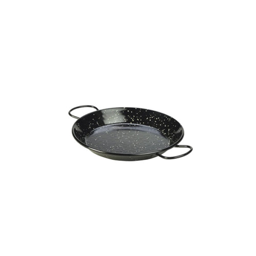 Genware Enamel Paella Pan Black 20cm - Coffeecups.co.uk