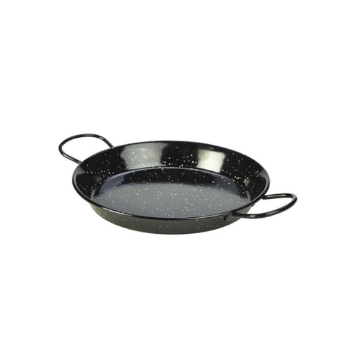 Genware Enamel Paella Pan Black 26cm - Coffeecups.co.uk