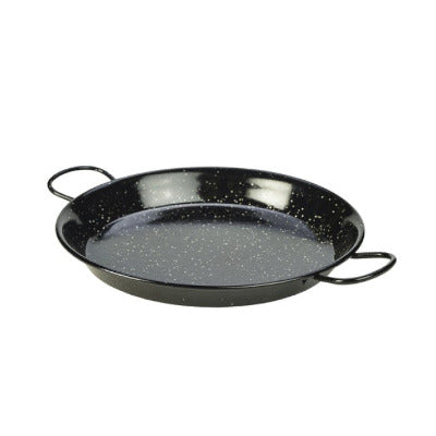 Genware Enamel Paella Pan Black 30cm - Coffeecups.co.uk