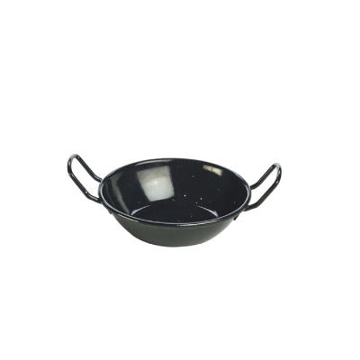 Genware Enamel Dish Black 14cm - Coffeecups.co.uk
