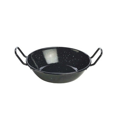 Genware Enamel Dish Black 18cm - Coffeecups.co.uk