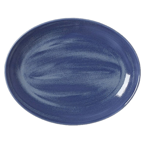 Steelite Revolution Oval Coupe Plates Bluestone 34.25cm | Coffeecups.co.uk