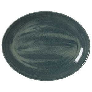 Steelite Revolution Oval Coupe Plates Jade 34.25cm | Coffeecups.co.uk